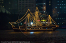 Illuminated sightseeing boats on the Huangpu River at night, Shanghai